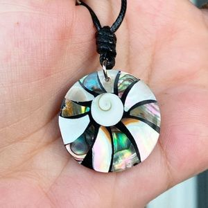 Mother of pearl abalone round medal surf necklace